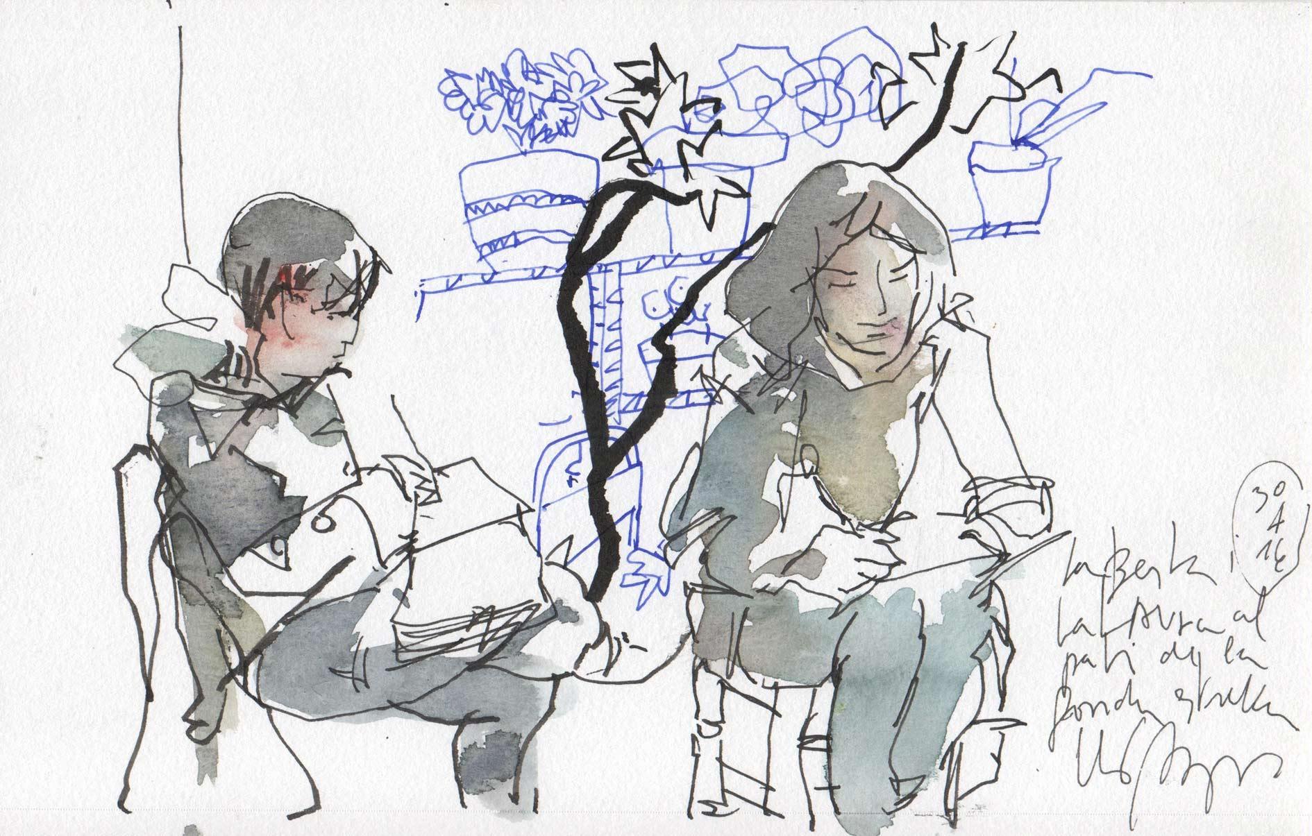 Lluis_Bruguera_La_Berta_i_la_Laura_dibuixant_Flors_i_Violes_2016